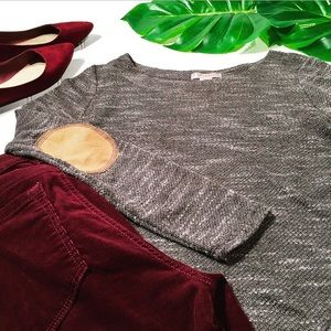 Rustic Gray Lightweight Top with Elbow Patches